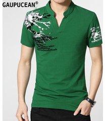 camiseta manga corta gaupucean para hombre-verde