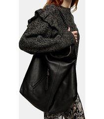 black leather hobo bag - black