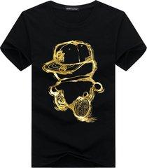 t-shirt di catton a maniche corte da uomo in cartone animato casual da plus dimensioni