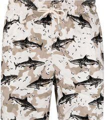 mc2 saint barth shark-print elasticated-waist swim shorts - neutrals