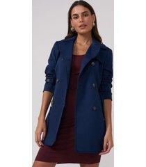 amaro feminino trench coat london breeze, azul escuro