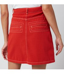 kenzo women's straight short skirt - medium orange - uk 10/eu 40