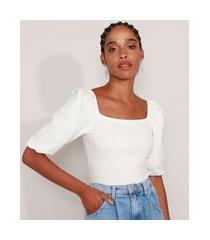 blusa básica manga bufante decote reto off white