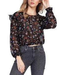 black tape sheer ruffled floral-print blouse