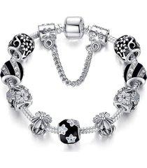 pulsera cuentas cristal murano mujer cadena seguridad 3493