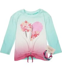belle du jour big girls 3/4 sleeve front tie top with 3 bracelets