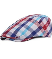 womens cotton colorful plaid square summer cap duckbill ivy cap flat cabbie newsboy cappello beret