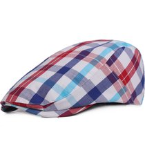 womens cotton colorful plaid square summer cap duckbill ivy cap flat cabbie newsboy cappello beret