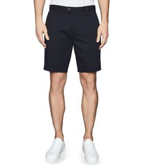 men's reiss wicket cotton blend chino shorts, size 32 - blue