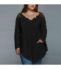 zanzea de encaje de ganchillo tops mujer de manga larga dobladillo asimétrico ocasional del bolsillo blusas negro -negro