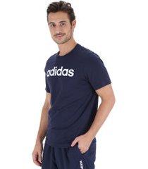 camiseta adidas essentials linear tee - masculina - azul escuro