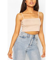 petite square neck cami crop top, stone