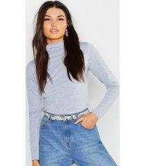 basic funnel neck long sleeve top, grey marl