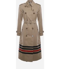 burberry cotton trench coat with contrasting detail on the bottom