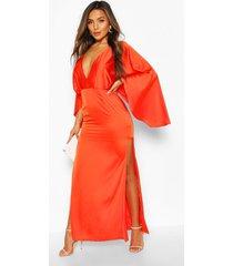 petite satin kimono sleeve maxi dress, orange
