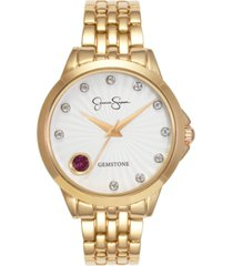 jessica simpson women's genuine garnet and white topaz gold tone bracelet watch 38mm