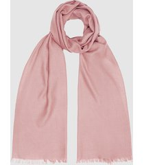reiss iris - wool silk blend lightweight scarf in bright pink, womens