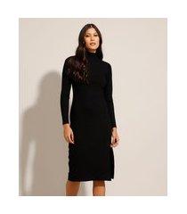 vestido canelado midi com fenda manga longa gola alta preto