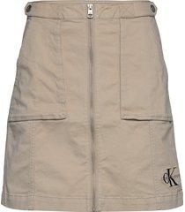cotton twill utility skirt kort kjol beige calvin klein jeans