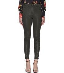 'margot' high rise crop coated denim skinny jeans