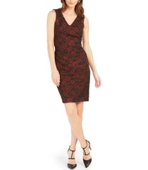 donna ricco stretch-brocade sheath dress