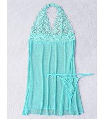 verde claro halter hollow diseño pijama con inserto de encaje vestido con espalda en t