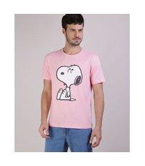 camiseta masculina snoopy manga curta gola careca rosa claro