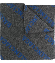 allover logo scarf, grey and blue