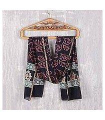batik cotton and silk blend shawl, 'avanti legacy' (india)