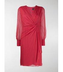 max mara ruched side sheer sleeve dress
