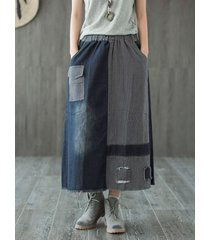gonna tascabile in denim a patchwork vintage a righe da donna