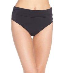 women's magicsuit ruched bikini bottoms, size 10 - black