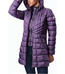 bernardo ecoplume bibbed packable hooded puffer coat