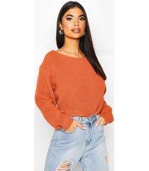 petite slash neck cropped sweater, tan