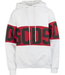 white woman hoodie with logoed band