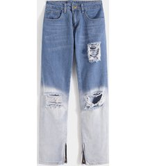 koyye hombres street style gradient color block ripped jeans