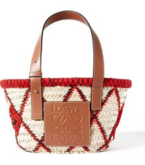 small embroidered leather-trimmed woven raffia tote