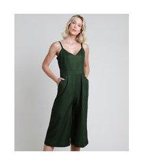 macacão feminino pantacourt com bolsos alça fina verde escuro