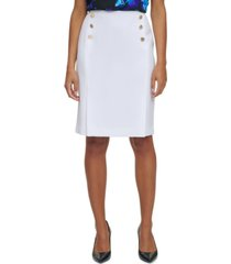 calvin klein button-trim pencil skirt