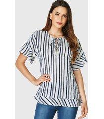 yoins azul para atar diseño rayas redondas cuello blusa de manga corta