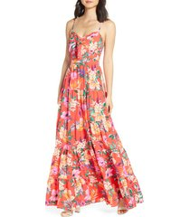 women's eliza j floral tie front tiered maxi sundress, size 12 - orange