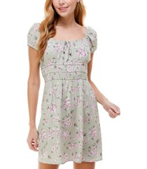 kingston grey juniors' puff-sleeve fit & flare dress