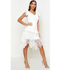 all over crochet skater midi dress, white