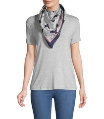 karl lagerfeld paris women's postcard-print silk scarf - navy