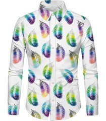 casual feather print long sleeves shirt