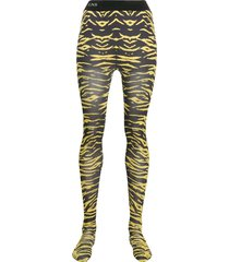 laneus animal print tights - yellow