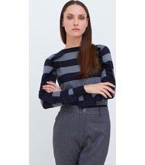 motivi maglia a righe con rouches donna blu