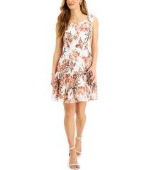connected petite floral-print lace fit & flare dress