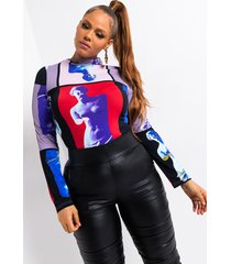 akira plus pop art renaissance long sleeve mock neck bodysuit