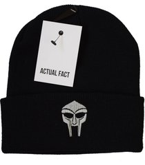 actual fact mf doom embroidered badge roll up black wooly beanie hat